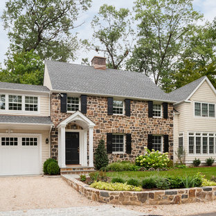 Traditional Beige Two Story Mixed Siding Gable Roof Idea In New York With A  Shingle