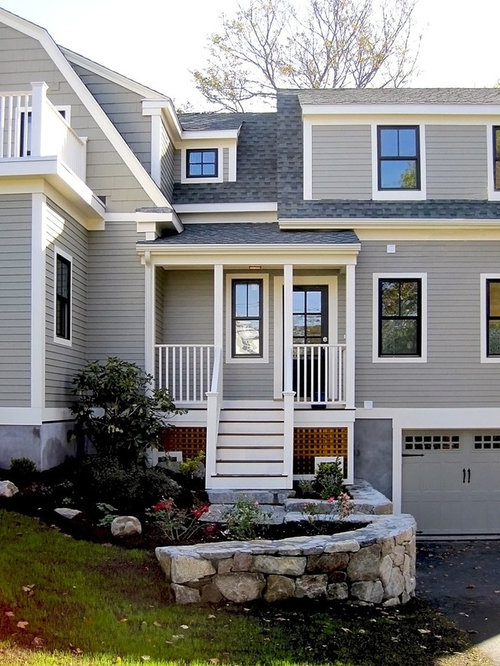 Grey Siding White Trim Houzz