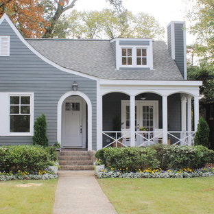 Mid-sized elegant gray two-story vinyl gable roof photo in Birmingham