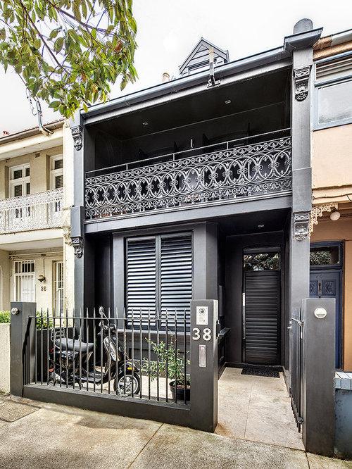 Victorian Black Exterior Home Design Ideas Remodels Photos