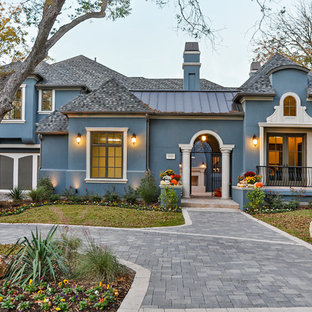 Mediterranean blue exterior home idea in Dallas
