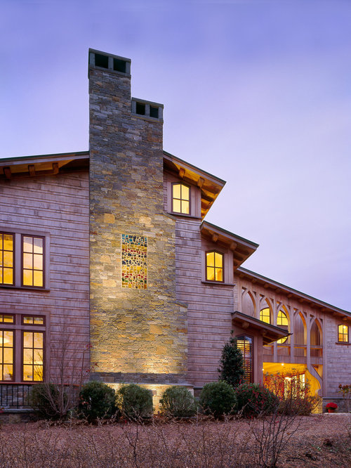 home chimney design. Example of a trendy wood exterior home design in Boston Chimney Design  Houzz