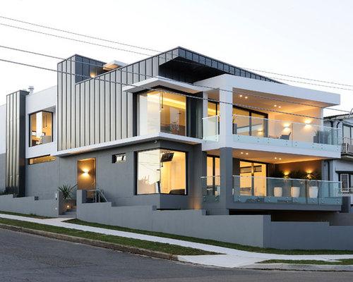 photos d 39 architecture et id es d co de fa ades de maisons grises avec un toit plat. Black Bedroom Furniture Sets. Home Design Ideas