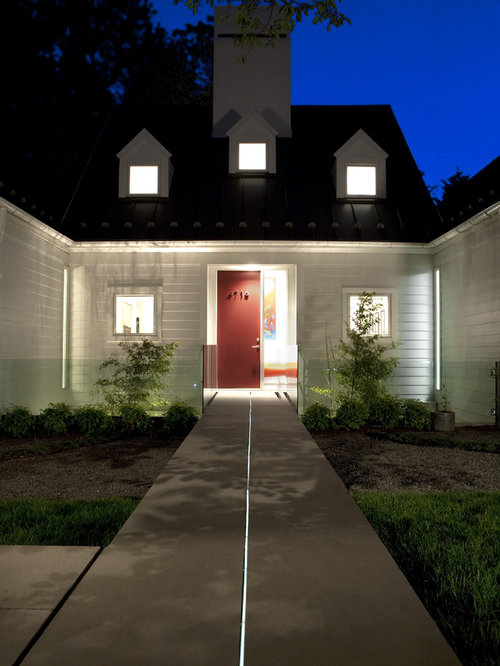 Large transitional white exterior home idea in DC Metro & Led Strip Lights | Houzz azcodes.com