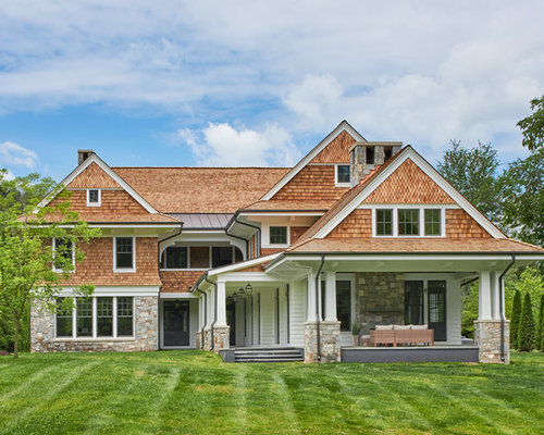 beach style wood gable roof idea in dc metro with a shingle roof - Exterior Home Design Ideas