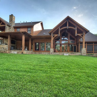 Inspiration for a rustic exterior home remodel in Houston