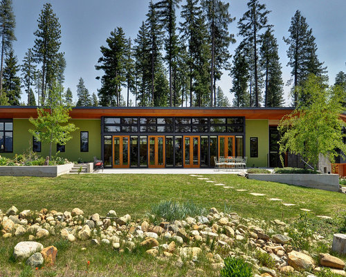 Example of a trendy green one story exterior home design in Seattle Ideal House Interior Design  Houzz