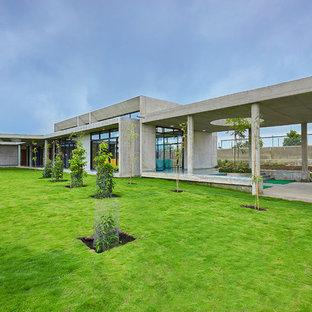 Modelo de fachada gris, urbana, extra grande, de una planta, con revestimiento de hormigón y tejado plano