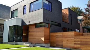 Industrial look of metal siding incorporated into warmth of cedar