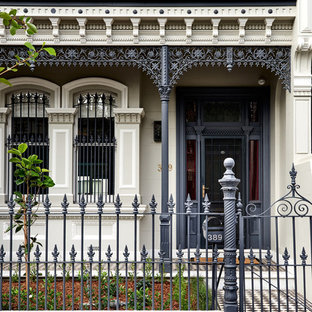 Inspiration for a large victorian two-storey brick house exterior in Sydney with a gable roof and a tile roof.