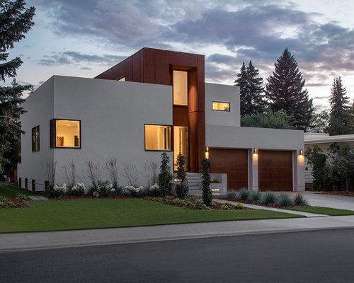 Inspiration For A Modern Beige Two Story Mixed Siding Flat Roof Remodel In  Edmonton