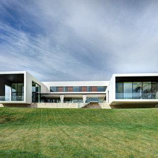 Ispirazione per la facciata di una casa grande bianca moderna a due piani con tetto piano e rivestimento in vetro