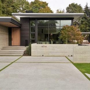 Diseño de fachada negra, minimalista, de una planta, con revestimiento de madera y tejado plano