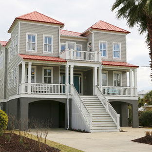 Example of an island style exterior home design in San Francisco