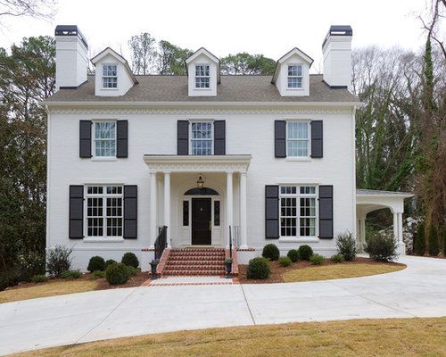 White house black shutters home design ideas pictures for Black and white house exterior design