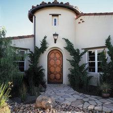 Mediterranean Exterior JELD-WEN Knotty Alder Custom Wood Entry Door