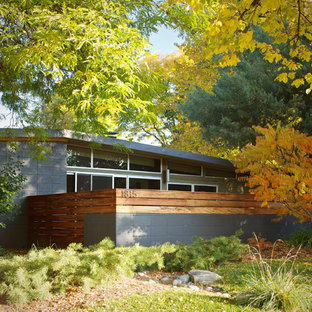 Midcentury modern gray one-story exterior home idea in Denver