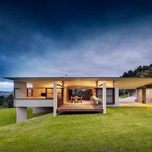 Idee per la facciata di una casa moderna a un piano di medie dimensioni con rivestimento in cemento e tetto piano