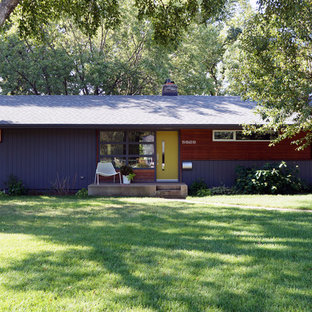 Inspiration for a mid-sized midcentury modern purple one-story exterior home remodel in Minneapolis