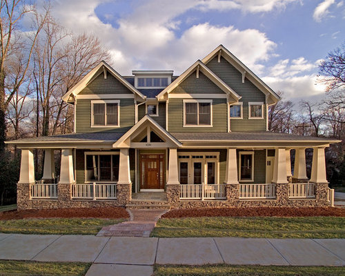 example of an arts and crafts green two story gable roof design in dc metro
