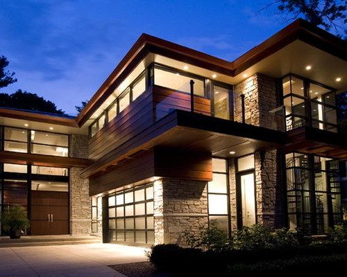 Modern craftsman exterior houzz for Modern house stone exterior designs