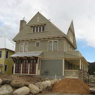 Inspiration for a craftsman wood exterior home remodel in Charlotte