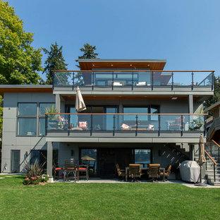 シアトルのコンテンポラリースタイルのおしゃれな家の外観 (コンクリート繊維板サイディング、グレーの外壁、片流れ屋根、戸建、金属屋根) の写真