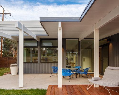Gray Midcentury Modern Exterior Design Ideas Remodels Photos