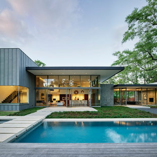 Minimalist gray two-story exterior home photo in Houston