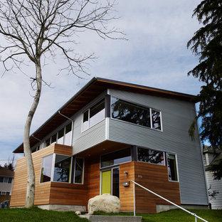 Inspiration för små industriella hus, med två våningar och blandad fasad