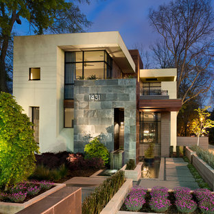 Example of a trendy two-story exterior home design in Atlanta