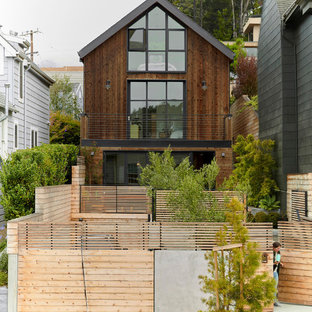Contemporary brown three-story wood exterior home idea in San Francisco