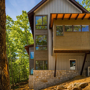 Large rustic gray two-story mixed siding gable roof idea in Atlanta