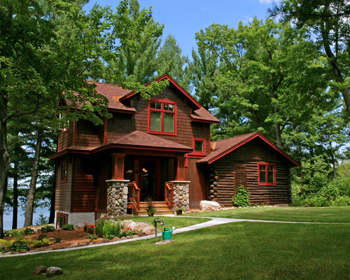 Mid Sized Mountain Style Two Story Wood Exterior Home Photo In Minneapolis