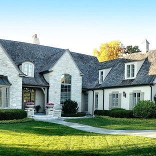 Elegant beige two-story stone exterior home photo in Chicago