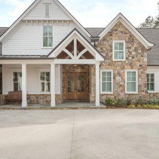 Elegant white two-story exterior home photo in Atlanta