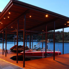 Contemporary Exterior Lake LBJ Pool, Cabana & Boat House