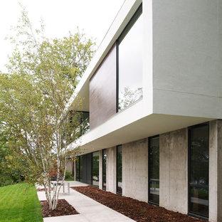 Modelo de fachada minimalista, de tamaño medio, de dos plantas, con revestimiento de hormigón