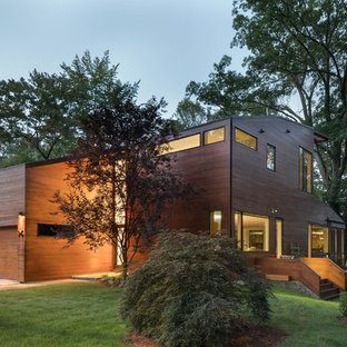 Mid Sized Contemporary Brown Three Story Wood Exterior Home Idea In Boston  With A