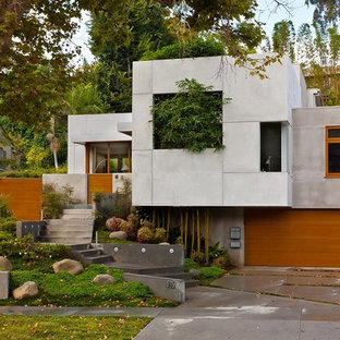 Asian wood exterior home idea in Los Angeles