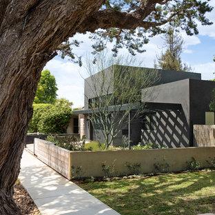 ロサンゼルスの中くらいのコンテンポラリースタイルのおしゃれな家の外観 (漆喰サイディング、グレーの外壁、緑化屋根) の写真