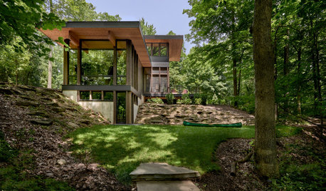 Houzz Tour: A Contemporary Weekend Cottage Treads Lightly in the Forest
