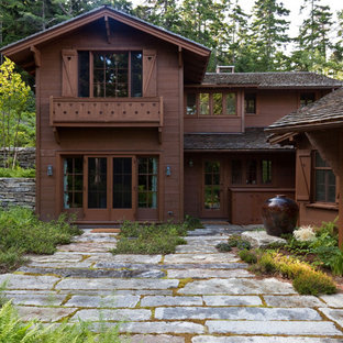 Example of a mountain style exterior home design in Boston