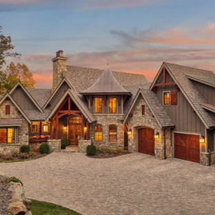 75 Beautiful Rustic Gray Exterior Home