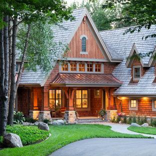 Huge rustic brown wood gable roof idea in Minneapolis