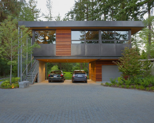 Inspiration For A Contemporary Wood Exterior Home Remodel In Seattle