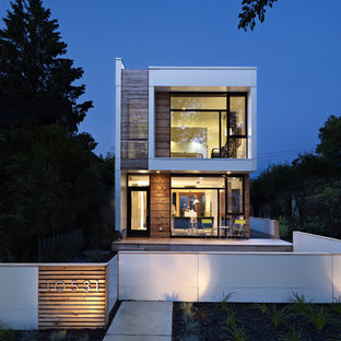 Modern house exterior in Edmonton with wood cladding.