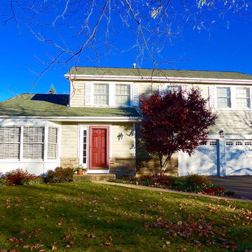 Libertyville, IL Split Level House Taupe Exterior Remodel