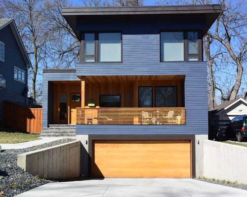 Inspiration For A Contemporary Blue Two Story Exterior Home Remodel In  Minneapolis With A Flat