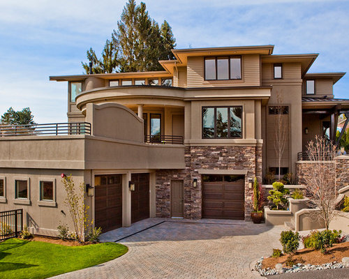 Best beige stucco exterior design ideas remodel pictures - Exterior paint coverage on stucco ...